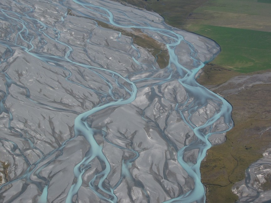 A close up view of the braided Godley River.