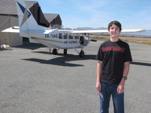 Luke in front of the plane