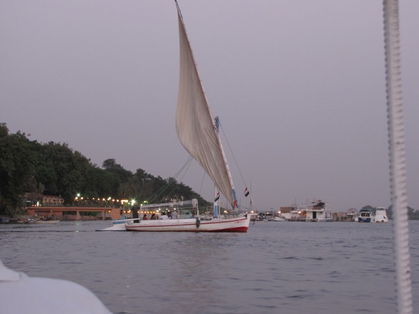 A typical Felucca on the River Nile, in Cairo