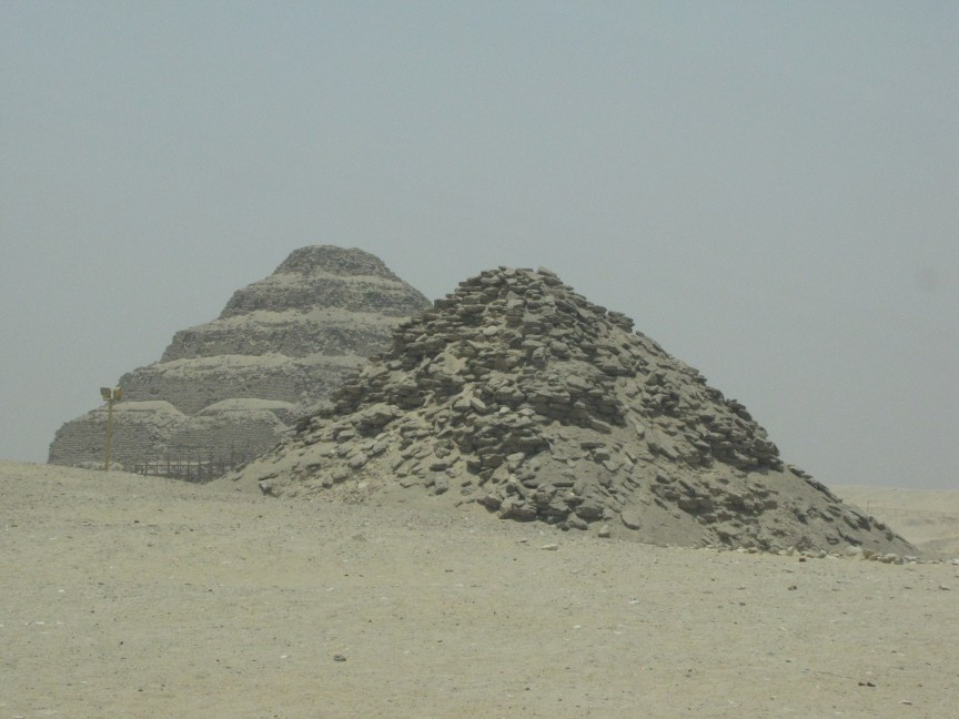 Saqqara (Sakkara) 'Step' pyramid in the background, an important leap forward in technology - and part of an extensive site that includes remnants of earlier tomb construction.