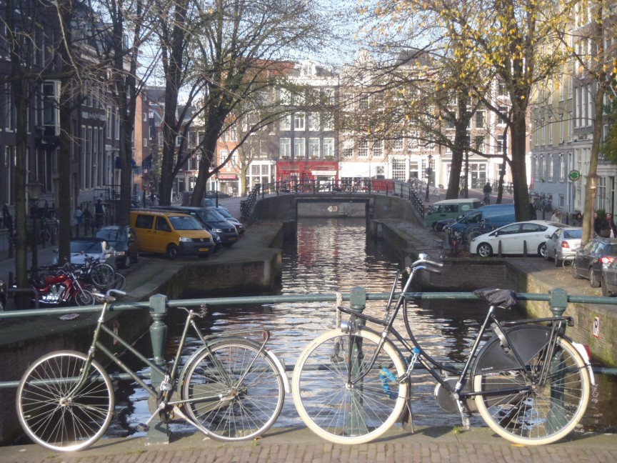 Bikes along Amsterdam Canal